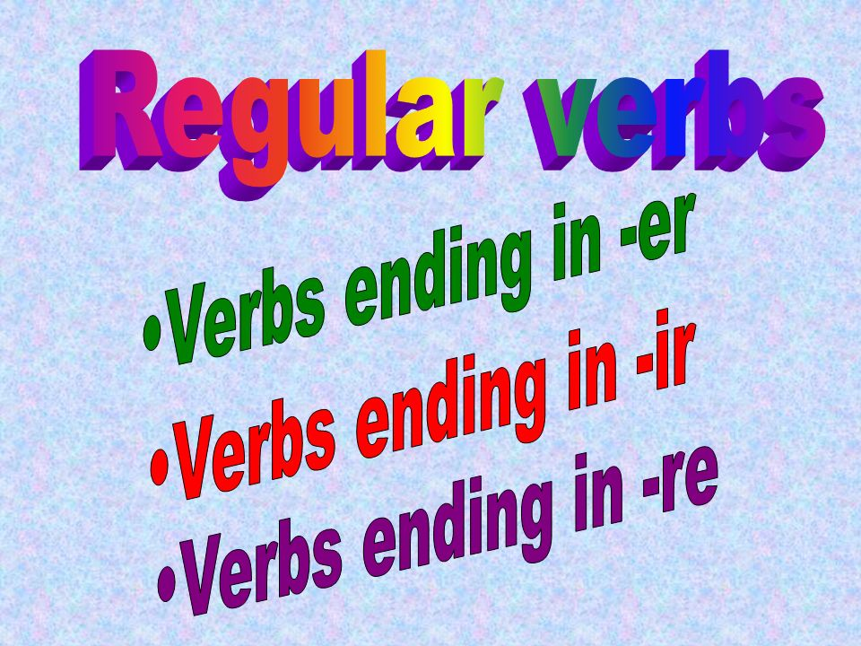 Er Verbs eons esez eent Ir Verbs isissons isissez itissent Re Verbs sons sez --ent Summary