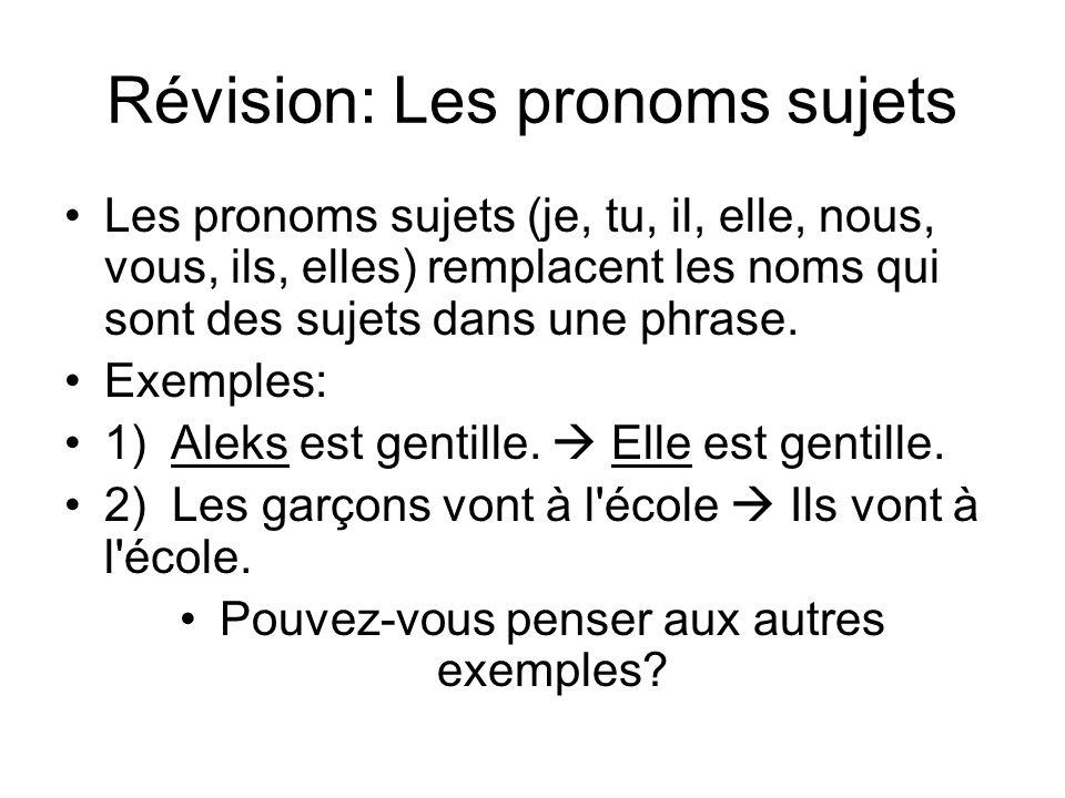 Révision: Les pronoms sujets Les pronoms sujets (je, tu, il, elle, nous, vous, ils, elles) remplacent les noms qui sont des sujets dans une phrase. Ex