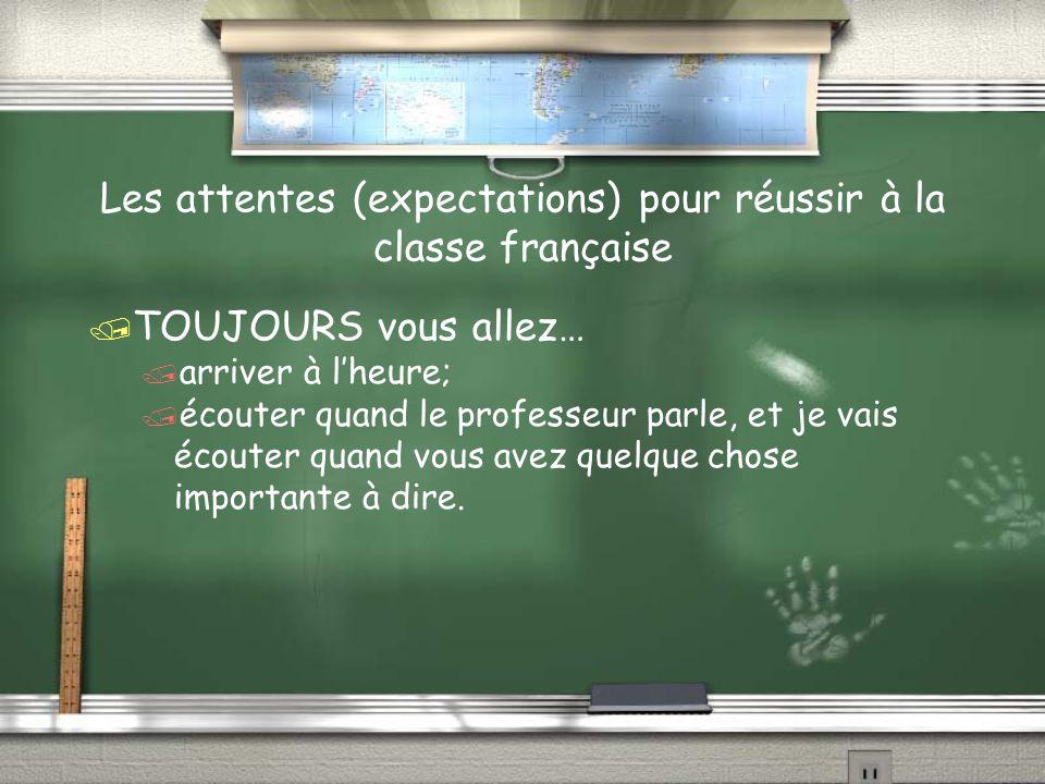 Les attentes (expectations) pour réussir à la classe française TOUJOURS vous allez… montrer le respect pour votre école, pour vous- même, pour tout le monde, et pour moi.