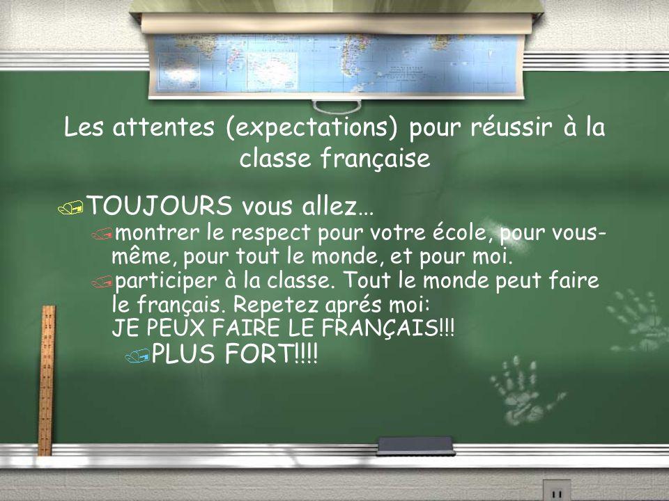 Les attentes (expectations) pour réussir à la classe française TOUJOURS vous allez… montrer le respect pour votre école, pour vous- même, pour tout le