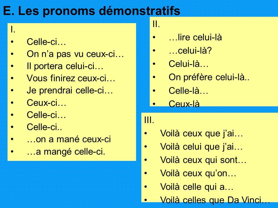 E. Les pronoms démonstratifs I. Celle-ci… On na pas vu ceux-ci… Il portera celui-ci… Vous finirez ceux-ci… Je prendrai celle-ci… Ceux-ci… Celle-ci… Ce