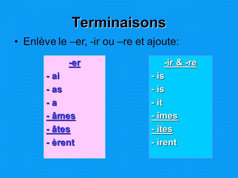-er - ai - as - a - âmes - âtes - èrent -ir & -re - is - it - îmes - îtes - irent Terminaisons Enlève le –er, -ir ou –re et ajoute: