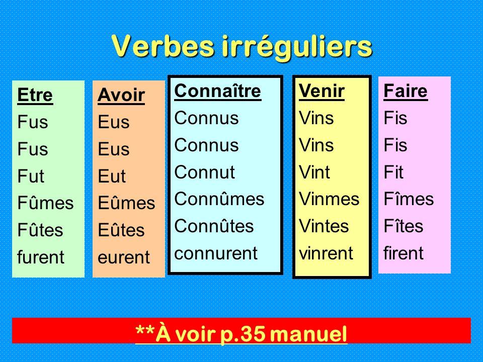 Verbes irréguliers Connaître Connus Connut Connûmes Connûtes connurent Venir Vins Vint Vinmes Vintes vinrent **À voir p.35 manuel Etre Fus Fut Fûmes F