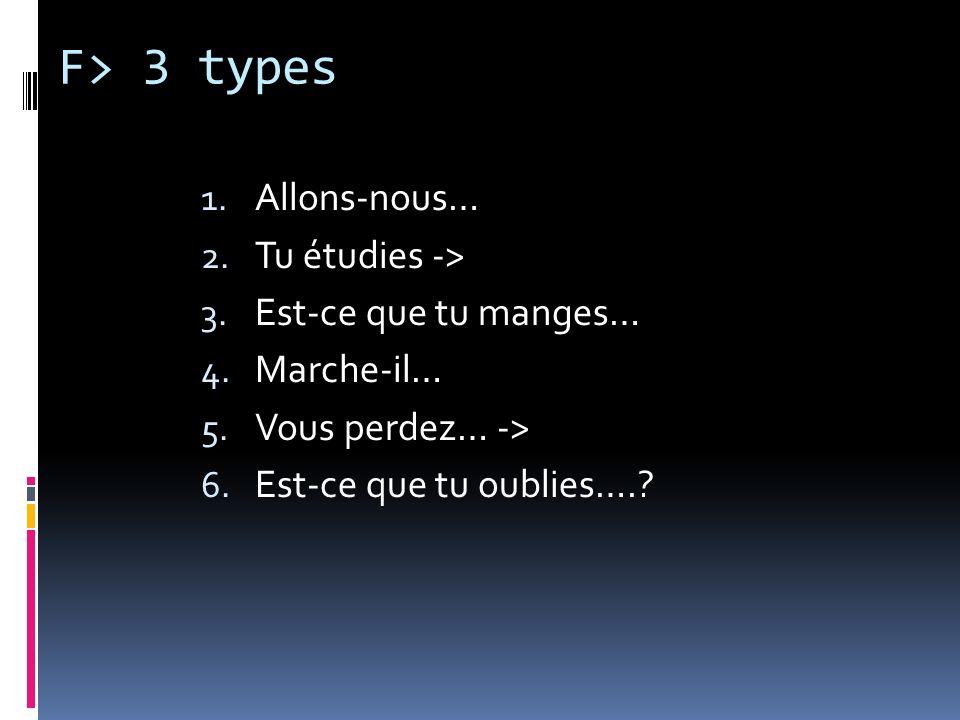 F> 3 types 1. Allons-nous… 2. Tu étudies -> 3. Est-ce que tu manges… 4. Marche-il… 5. Vous perdez… -> 6. Est-ce que tu oublies….?
