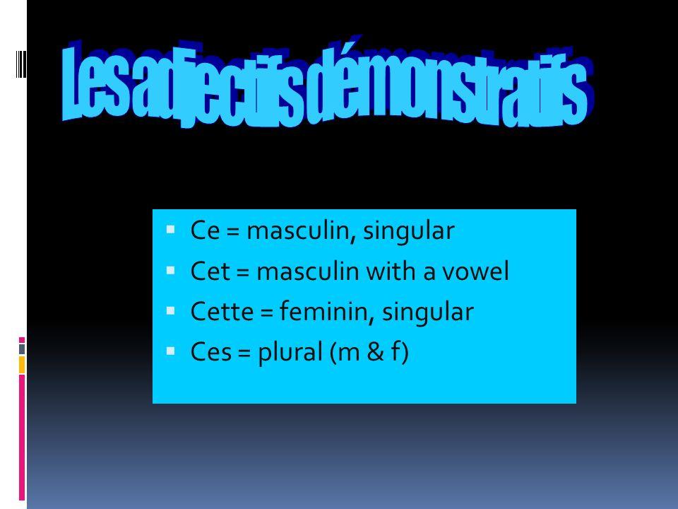 Ce = masculin, singular Cet = masculin with a vowel Cette = feminin, singular Ces = plural (m & f)