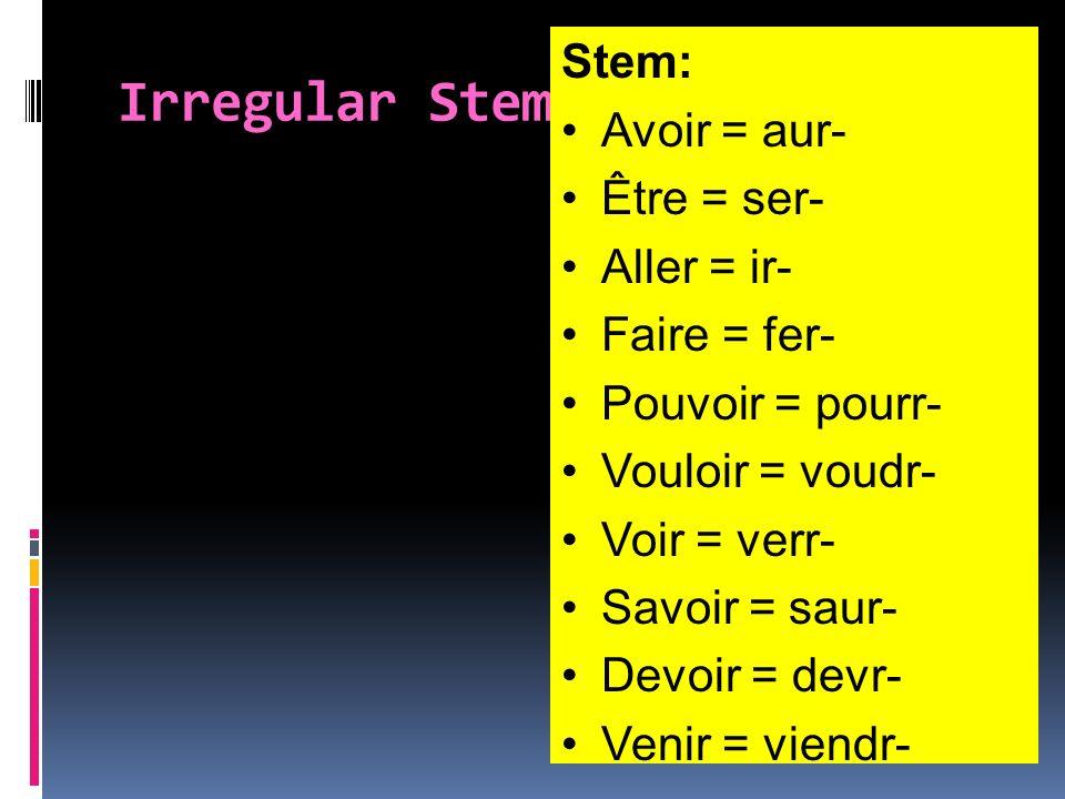 Irregular Stems Stem: Avoir = aur- Être = ser- Aller = ir- Faire = fer- Pouvoir = pourr- Vouloir = voudr- Voir = verr- Savoir = saur- Devoir = devr- V