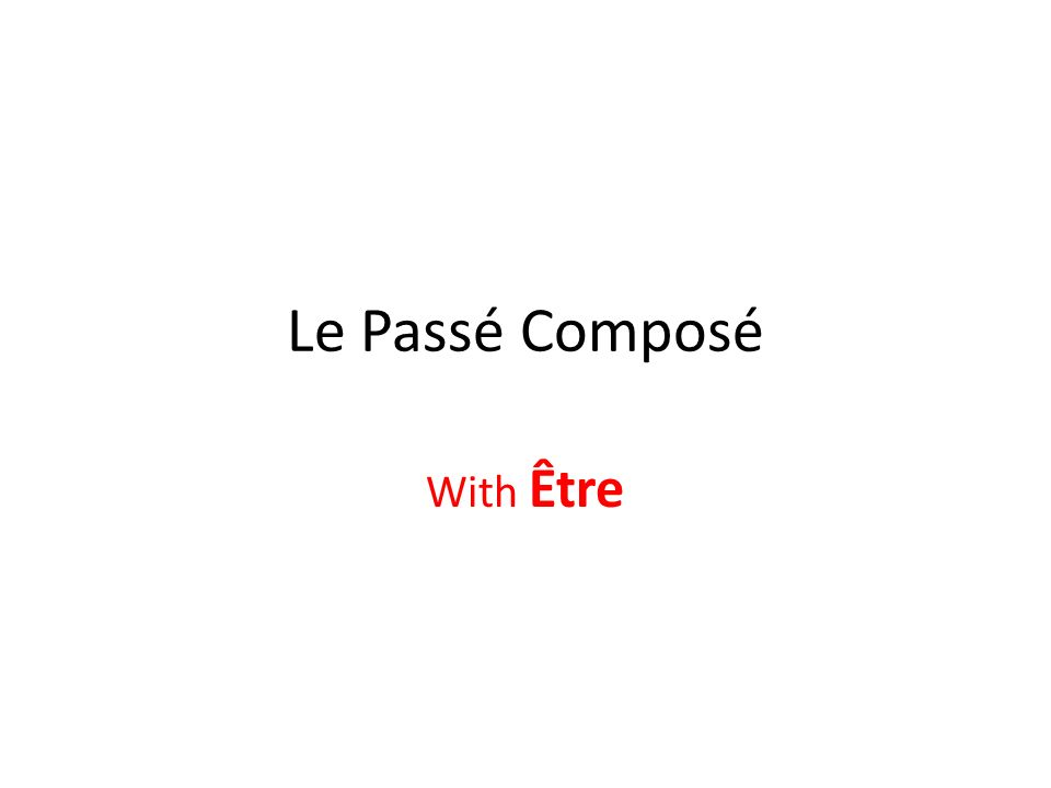 When is Être used in the passé composé.