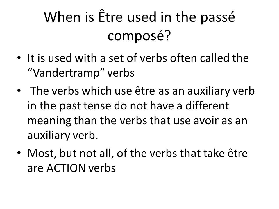 What are the Vandertramp verbs.