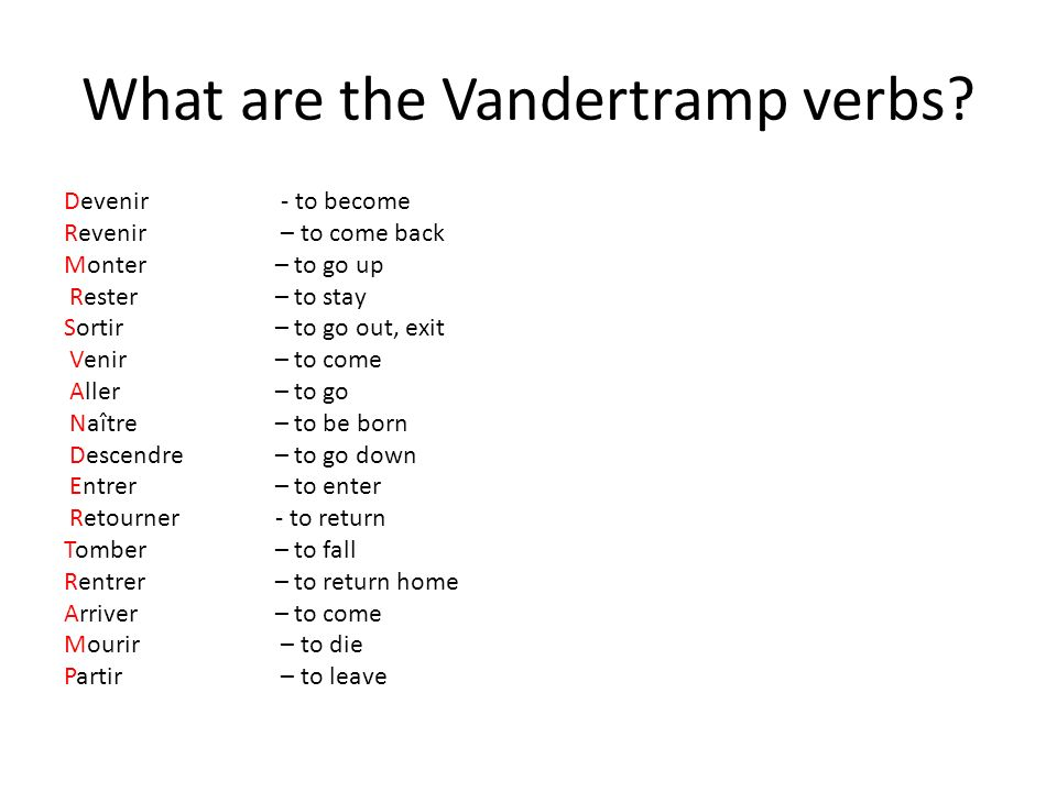 What are the Vandertramp verbs? Devenir - to become Revenir – to come back Monter – to go up Rester – to stay Sortir – to go out, exit Venir – to come