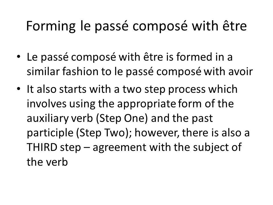 Forming le passé composé with être Le passé composé with être is formed in a similar fashion to le passé composé with avoir It also starts with a two