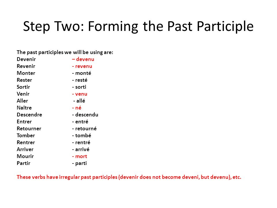 Step Two: Forming the Past Participle The past participles we will be using are: Devenir – devenu Revenir- revenu Monter- monté Rester - resté Sortir-