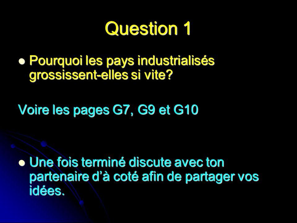 Question 1 Pourquoi les pays industrialisés grossissent-elles si vite? Pourquoi les pays industrialisés grossissent-elles si vite? Voire les pages G7,