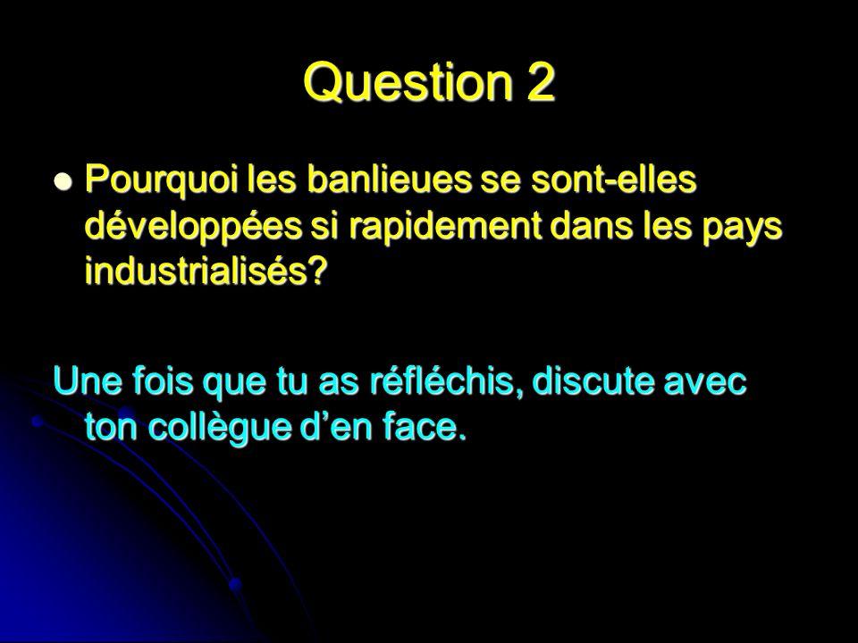 Question 2 Pourquoi les banlieues se sont-elles développées si rapidement dans les pays industrialisés? Pourquoi les banlieues se sont-elles développé