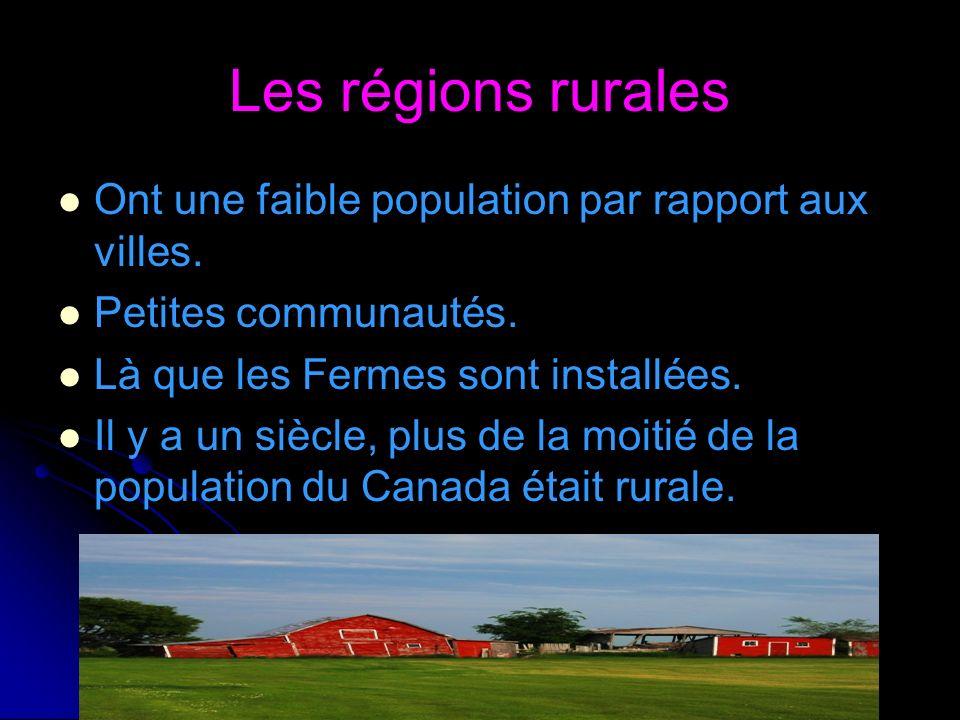Les régions rurales Ont une faible population par rapport aux villes. Petites communautés. Là que les Fermes sont installées. Il y a un siècle, plus d