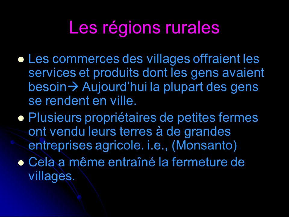 Les régions rurales Les commerces des villages offraient les services et produits dont les gens avaient besoin Aujourdhui la plupart des gens se rende