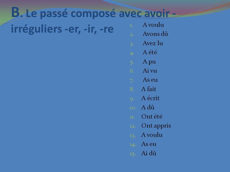 B. Le passé composé avec avoir - irréguliers -er, -ir, -re 1. A voulu 2. Avons dû 3. Avez lu 4. A été 5. A pu 6. Ai vu 7. As eu 8. A fait 9. A écrit 1