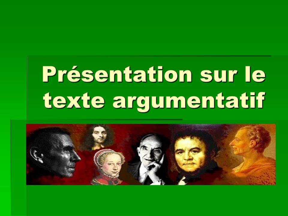 Présentation sur le texte argumentatif