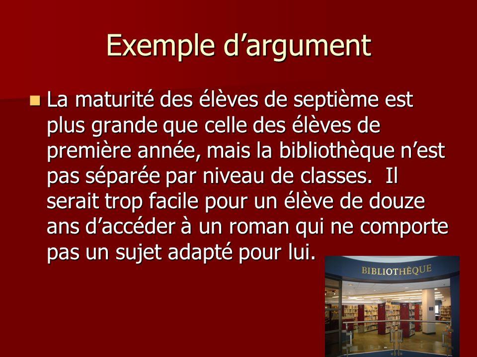 Exemple dargument La maturité des élèves de septième est plus grande que celle des élèves de première année, mais la bibliothèque nest pas séparée par
