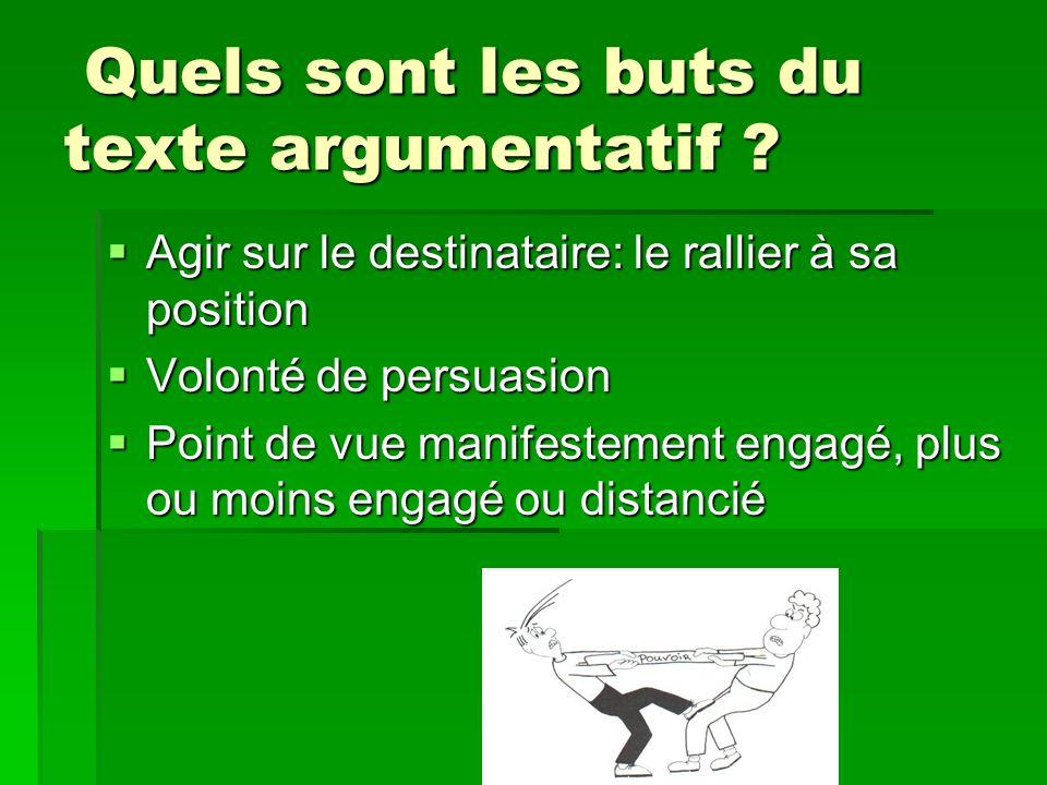 Quels sont les buts du texte argumentatif ? Quels sont les buts du texte argumentatif ? Agir sur le destinataire: le rallier à sa position Agir sur le
