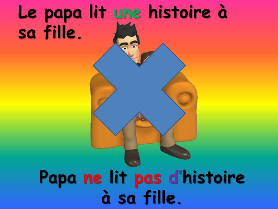 Papa ne lit pas dhistoire à sa fille. Le papa lit une histoire à sa fille.