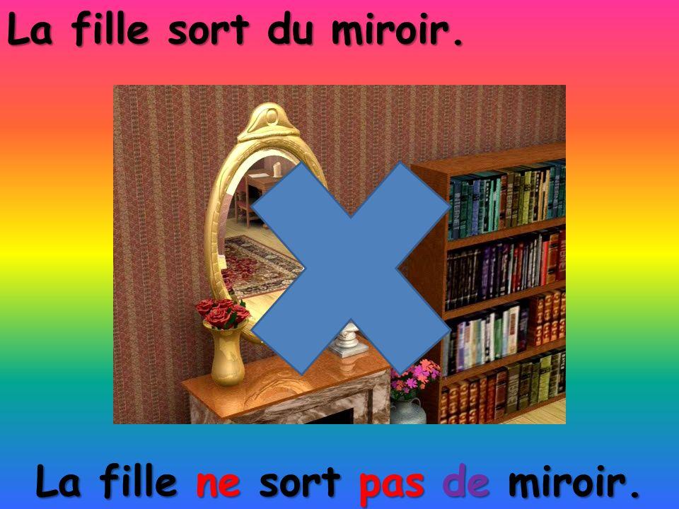 La fille ne sort pas de miroir. La fille sort du miroir.