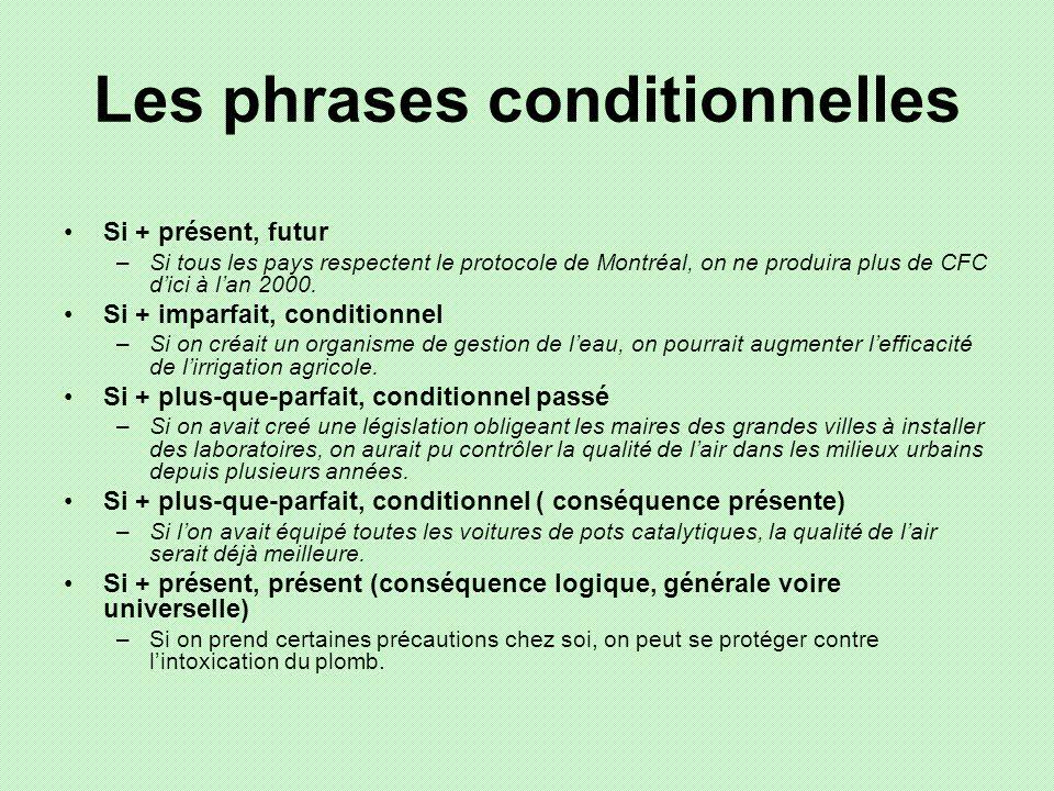 Les phrases conditionnelles Si + présent, futur –Si tous les pays respectent le protocole de Montréal, on ne produira plus de CFC dici à lan 2000. Si