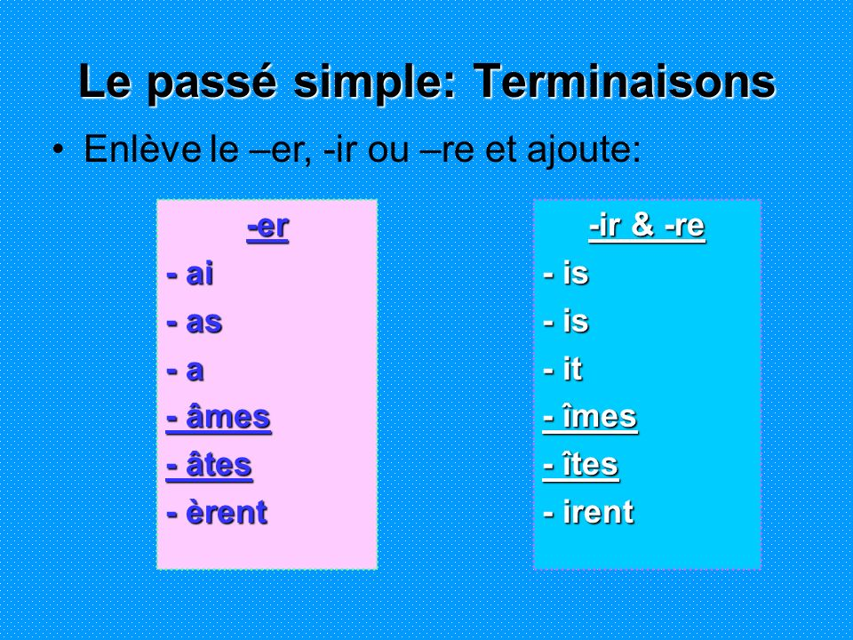 -er - ai - as - a - âmes - âtes - èrent -ir & -re - is - it - îmes - îtes - irent Le passé simple: Terminaisons Enlève le –er, -ir ou –re et ajoute: