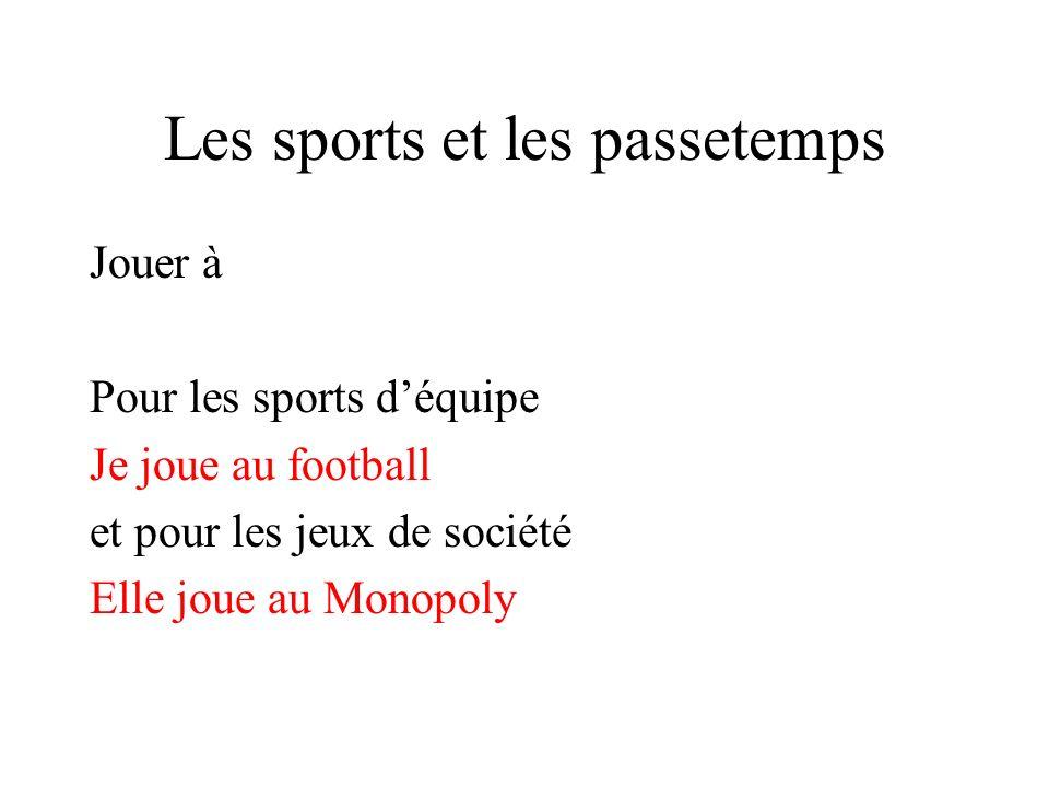 Les sports et les passetemps Jouer à Pour les sports déquipe Je joue au football et pour les jeux de société Elle joue au Monopoly