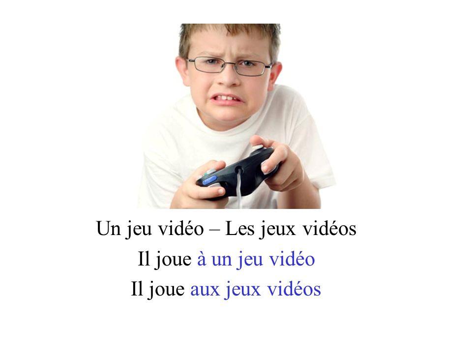 Un jeu vidéo – Les jeux vidéos Il joue à un jeu vidéo Il joue aux jeux vidéos