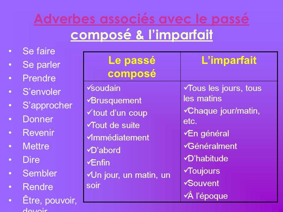 Adverbes associés avec le passé composé & limparfait Le passé composé Limparfait soudain Brusquement tout dun coup Tout de suite Immédiatement Dabord