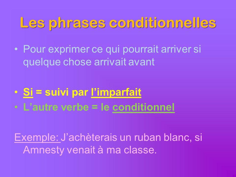 Les phrases conditionnelles Pour exprimer ce qui pourrait arriver si quelque chose arrivait avant Si = suivi par limparfait Lautre verbe = le conditio
