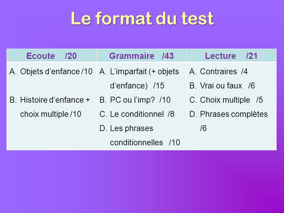 Le format du test Ecoute /20Grammaire /43Lecture /21 A.Objets denfance /10 B.Histoire denfance + choix multiple /10 A.Limparfait (+ objets denfance) /