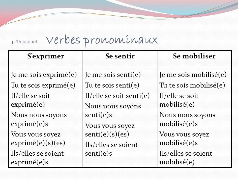 p.15 paquet – Verbes pronominaux SexprimerSe sentirSe mobiliser Je me sois exprimé(e) Tu te sois exprimé(e) Il/elle se soit exprimé(e) Nous nous soyon