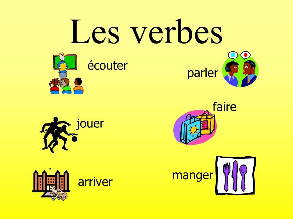 Les verbes jouer manger arriver faire écouter parler