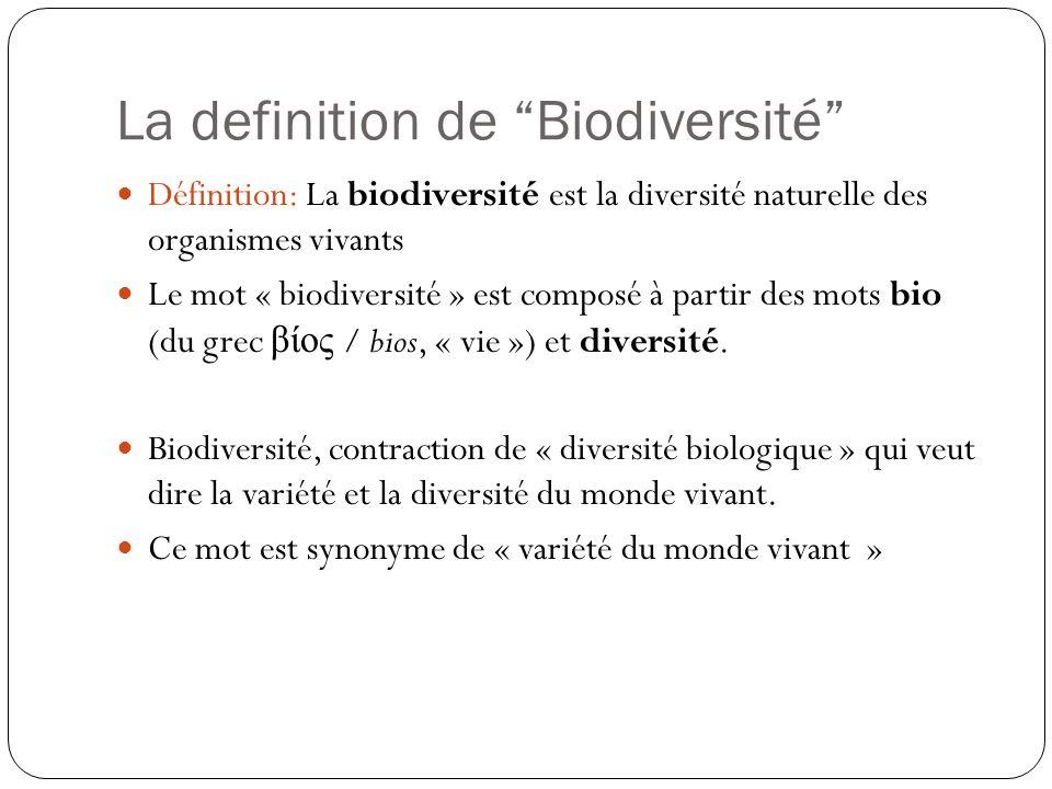 La definition de Biodiversité Définition: La biodiversité est la diversité naturelle des organismes vivants Le mot « biodiversité » est composé à part