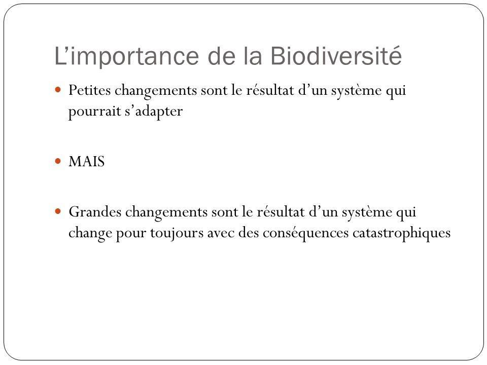Limportance de la Biodiversité Petites changements sont le résultat dun système qui pourrait sadapter MAIS Grandes changements sont le résultat dun sy