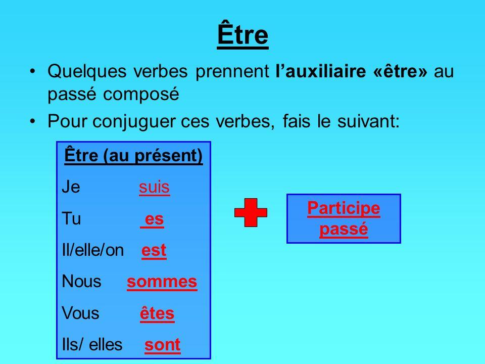 Être Quelques verbes prennent lauxiliaire «être» au passé composé Pour conjuguer ces verbes, fais le suivant: Être (au présent) Je suis Tu es Il/elle/