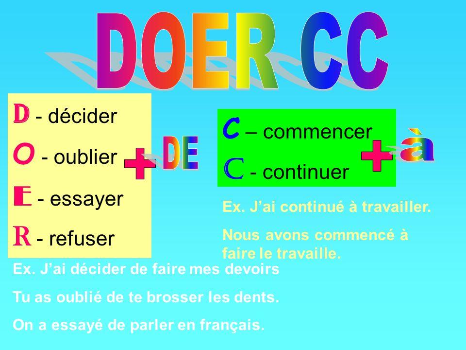 D - décider O - oublier E - essayer R - refuser C – commencer C - continuer Ex.