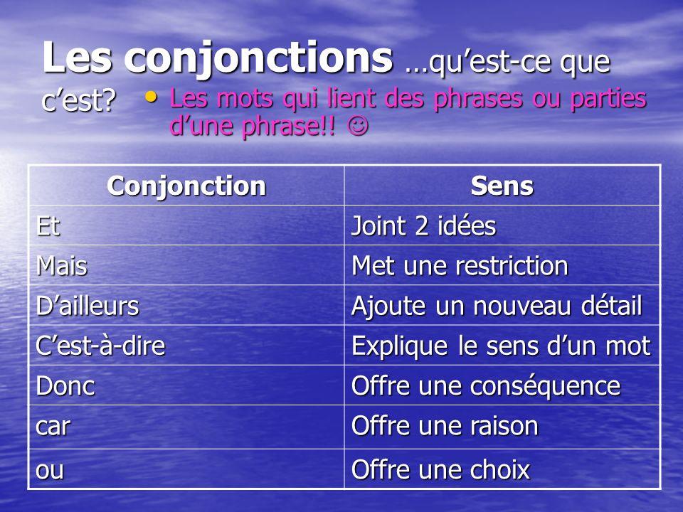 Les conjonctions …quest-ce que cest? Les mots qui lient des phrases ou parties dune phrase!! Les mots qui lient des phrases ou parties dune phrase!! C