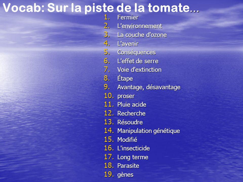 … Vocab: Sur la piste de la tomate … 1. Fermier 2. L'environnement 3. La couche d'ozone 4. L'avenir 5. Conséquences 6. L'effet de serre 7. Voie d'exti