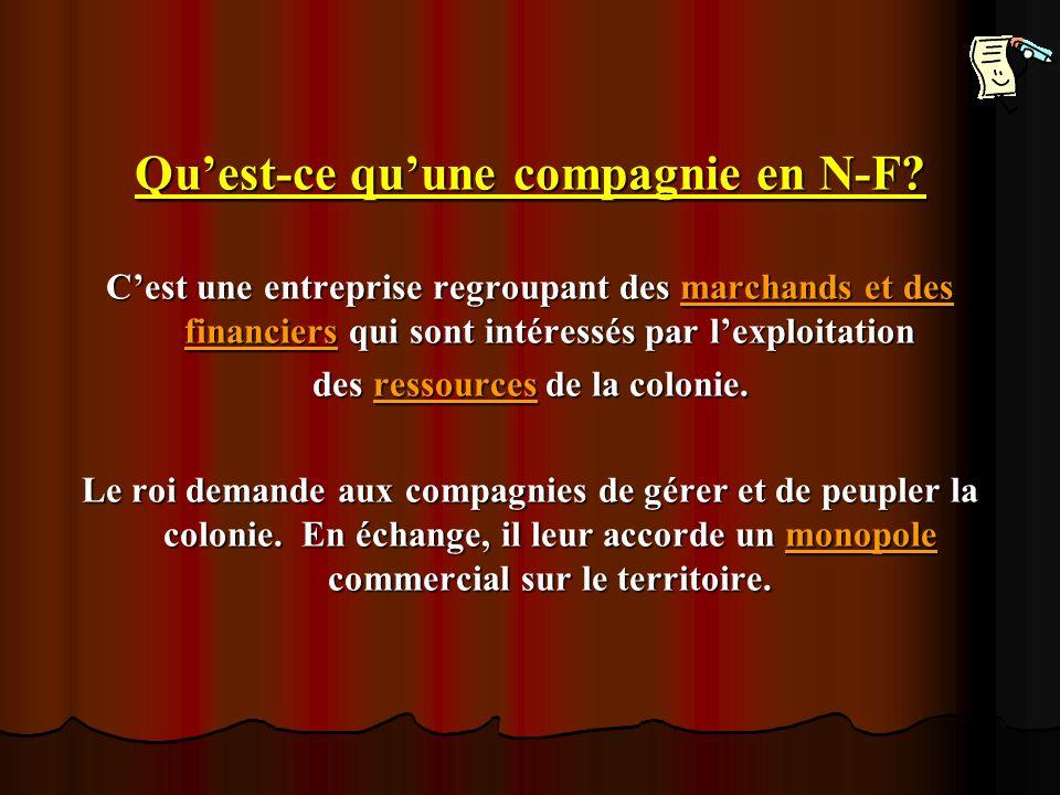 Quest-ce quune compagnie en N-F? Cest une entreprise regroupant des marchands et des financiers qui sont intéressés par lexploitation des ressources d