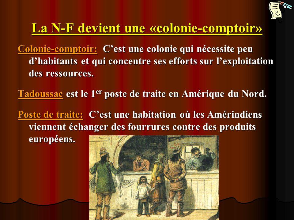 La N-F devient une «colonie-comptoir» Colonie-comptoir: Cest une colonie qui nécessite peu dhabitants et qui concentre ses efforts sur lexploitation d