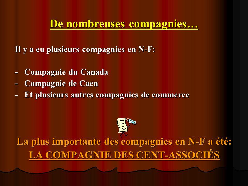 De nombreuses compagnies… Il y a eu plusieurs compagnies en N-F: -Compagnie du Canada -Compagnie de Caen -Et plusieurs autres compagnies de commerce L