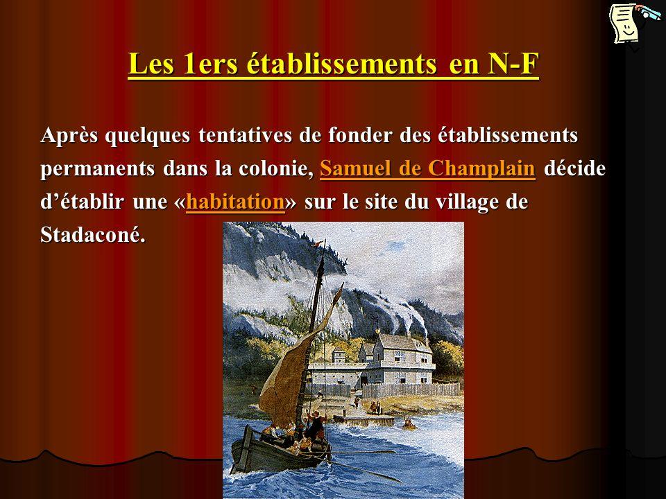 Les 1ers établissements en N-F Après quelques tentatives de fonder des établissements permanents dans la colonie, Samuel de Champlain décide détablir