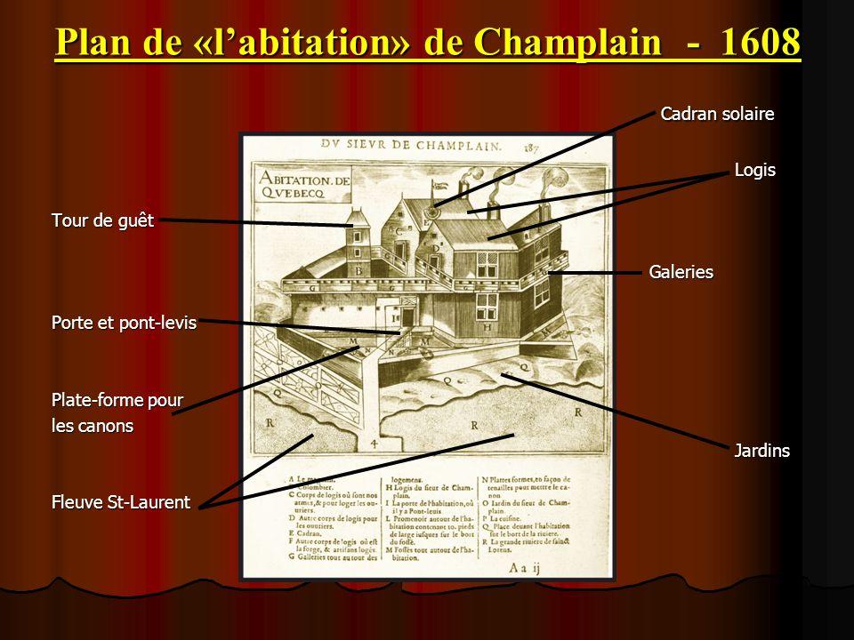 Plan de «labitation» de Champlain - 1608 Cadran solaire Cadran solaireLogis Tour de guêt Galeries Porte et pont-levis Plate-forme pour les canons Jard