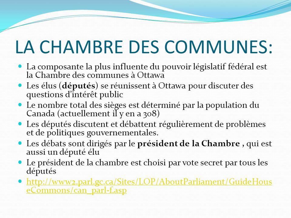 LA CHAMBRE DES COMMUNES: La composante la plus influente du pouvoir législatif fédéral est la Chambre des communes à Ottawa Les élus (députés) se réun