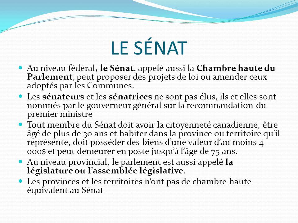 LE SÉNAT Au niveau fédéral, le Sénat, appelé aussi la Chambre haute du Parlement, peut proposer des projets de loi ou amender ceux adoptés par les Com