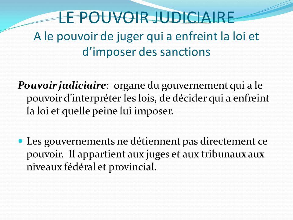 LE POUVOIR JUDICIAIRE A le pouvoir de juger qui a enfreint la loi et dimposer des sanctions Pouvoir judiciaire: organe du gouvernement qui a le pouvoi