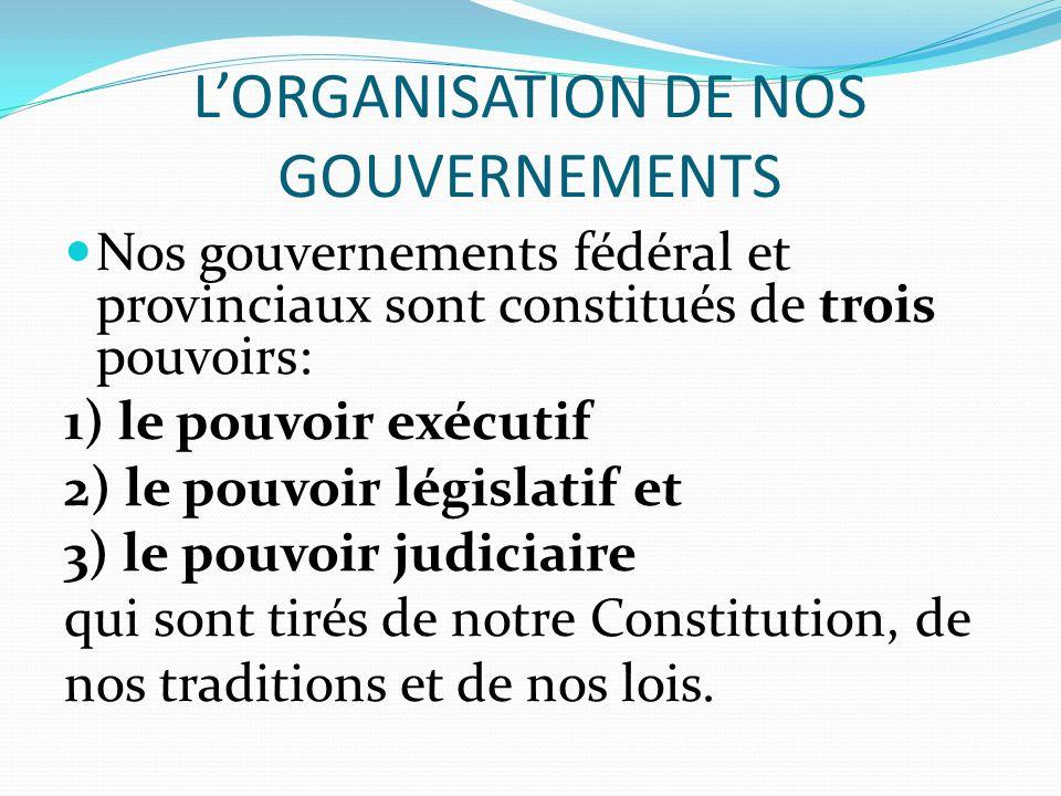 LORGANISATION DE NOS GOUVERNEMENTS Nos gouvernements fédéral et provinciaux sont constitués de trois pouvoirs: 1) le pouvoir exécutif 2) le pouvoir lé