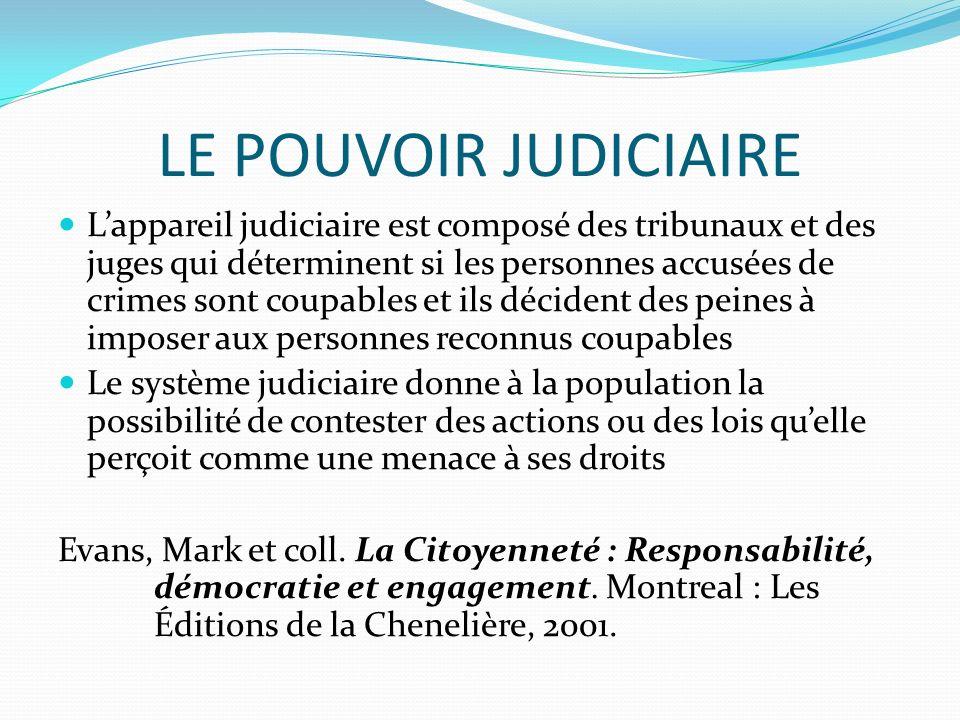 LE POUVOIR JUDICIAIRE Lappareil judiciaire est composé des tribunaux et des juges qui déterminent si les personnes accusées de crimes sont coupables e